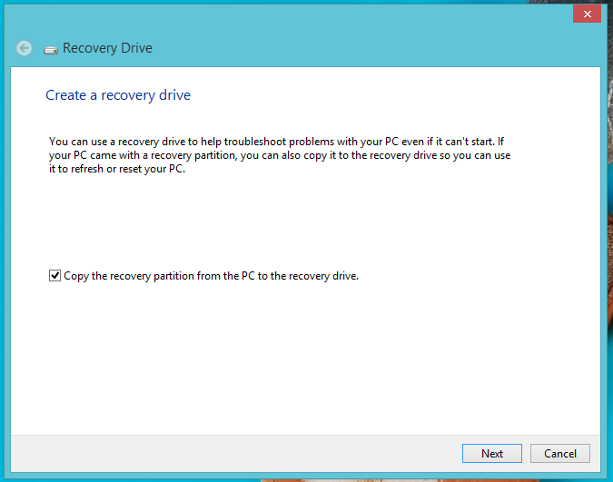 Windows 8 recovery partition disk creator